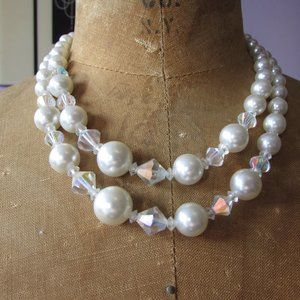 Vintage faux pearl and AB crystal necklace